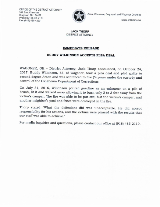 Press release announcing plea deal in arson case